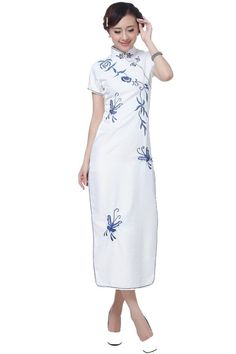 JTC Ladies Long Cheongsam Evening Gown Party Dress Qipao White at Amazon Women's Clothing store: