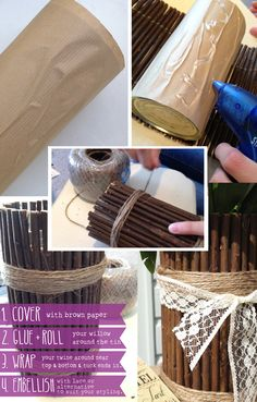 Broken link but it's an aluminum can, wrapped with brown paper, then hot glue stick over the brown paper. 3 HOW TO DIY woodland wedding rustic sticks vase centerpiece Woodland Wedding, Diy Wedding, Wedding Rustic, Wedding Ideas, Rustic Wedding Centerpieces, Vase Centerpieces, Rustic Vases, Vases Decor, Old Vases