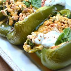 Vegan Grilled Spinach Stuffed Peppers made with Go Veggie! Dairy-Free Mozzarella Style Shreds.