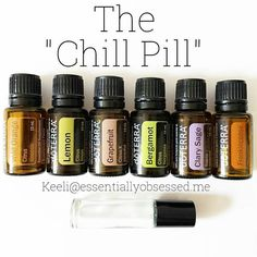 """""The Chill Pill"" is a wonderful blend using essential oils to help promote relaxation and uplift your mood.  In a 10ml rollerball put 5 drops each of Wild Orange, Lemon, Grapefruit, Bergamot and 8 drops each Clary Sage and Frankincense.  Topped with Fractionated Coconut Oil. Roll on wrists, down spine and on the bottom of your feet....and exhale....  What is your favorite ""Calm Down"" blend?"""