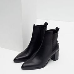 BLOCK HEEL LEATHER ANKLE BOOTS WITH STRETCH DETAIL from Zara