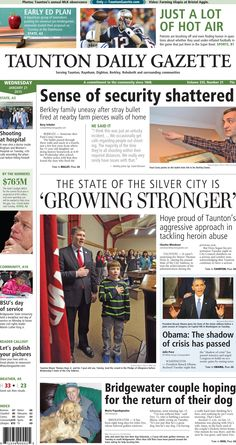 The front page of the Taunton Daily Gazette for Wednesday, Jan. 21, 2015.