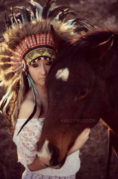 Kailey Hudson Photography | facebook.com/KHPhotography13  #Indian #headdress #horses