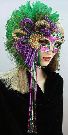 Mardi Gras Jubilee Mask — Gypsy Renaissance - Handmade masquerade masks, headbands, and hair clips Mardi Gras Carnival, Mardi Gras Party, Carnival Masks, Mask Face Paint, Masquerade Party, Masquerade Masks, Mardi Gras Costumes, Beautiful Mask, Venetian Masks