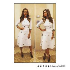 Esha Gupta looks a vision in white with #ShivanAndNarresh Ivory Cruise Dress with Rousseau Motifs in #SwarovskiCrystals   #EshaGupta #CelebStyle #RustomPromotion #Bollywood #Celebrities #White #WhiteDress