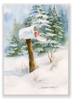 watercolor christmas cards art | Winter Mailbox Watercolor Christmas Greeting Card by Susie Short                                                                                                                                                                                 More