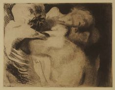 Death and a Woman Wrestling Over Her Child Etching; Käthe Kollwitz 1910