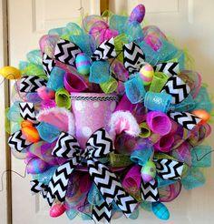 JUST ONE LEFT!!!!!! - Mad Hatter Wreath - Deco Mesh Wreath - Top Hat Bunny Wreath - Mesh Door Decoration - Bunny Ear Wreath on Etsy, $159.00