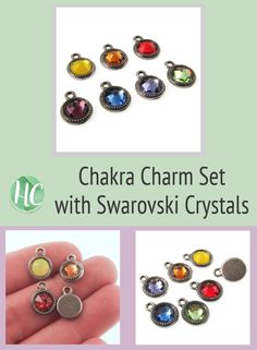 This chakra charm set is perfect for making a charm bracelet or necklace. Find more unique charms at Hackberry Creek. Chakra Colors, Summer Jewelry, Beading Supplies, Jewelry Findings, Pewter, Swarovski Crystals, Charms, Jewelry Making, Bracelet