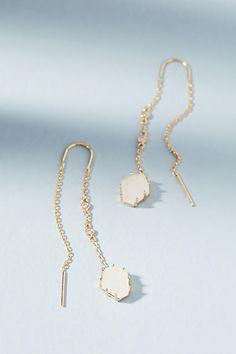 Anthropologie Tethered Stone Threader Earrings