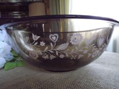 Amber brown pyrex mixing bowl by ShabbyFrenchShack on Etsy, $13.99
