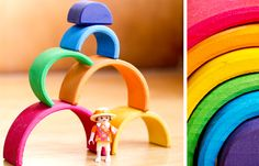 Rainbow stacking toy.