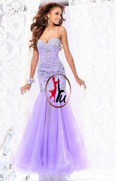 Vestido De Festa Top Fashion New Dropped Long Prom Dresses 2014 Lilac Sweetheart Mermaid Organza Floor-length Prom Dresses_yunnt(China (Mainland))