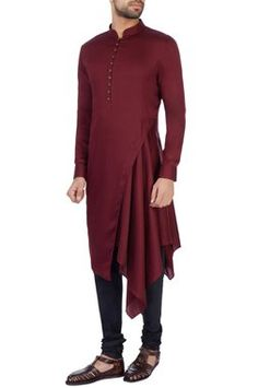 Mens Style Discover Buy Wine modal satin solid kurta set by Dhruv Vaish at Aza Fashions Mens Indian Wear, Mens Ethnic Wear, Indian Groom Wear, Gents Kurta Design, Boys Kurta Design, African Wear Styles For Men, African Dresses Men, Nigerian Men Fashion, Indian Men Fashion