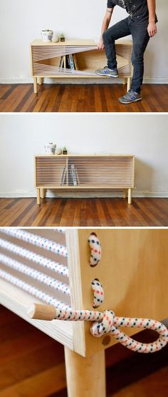 This Wooden Sideboard is for sale & expensive! Easy to recreate using those stretchy wasline ropes