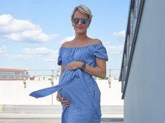 OOTD OOTW 29. Schwangerschaftswoche SSW. Ideen für Umstandsmode und Maternity Clothes mit blau-weiß gestreiftem Kleid von Zara