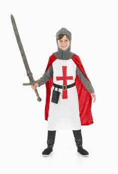 Boys Crusader Knight Boy Costume for Medieval Middle Ages Fancy Dress Up Outfits