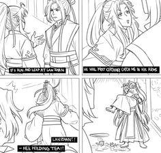 Lan wangji x Wei wuxian Manga, Chinese Cartoon, Stuff And Thangs, Cartoon Memes, The Grandmaster, Cute Chibi, Cute Gay, Yuri, Fanart