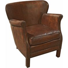 Dickson Rustic Lodge Vintage Brown Leather Wood Armchair ($1,280) ❤ liked on Polyvore featuring home, furniture, chairs, accent chairs, wood chair, leather armchair, wood accent chairs, brown leather chair and leather arm chair
