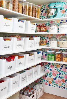 Pantry Storage, Pantry Organization, Pantry Ideas, Organization Station, Kitchen Storage, Acrylic Containers, Bin Labels, Colorful Wallpaper, Wallpaper Ideas