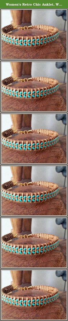 Women's Retro Chic Anklet, Women's Turquoise Leather Ankle Cuff Bracelet. WE ALL NEED ACCESSORIES to upgrade our outfit... Especially this boho retro chic ankle cuff.. Anklets and bracelets have always been there especially to give us this feeling of freedom , sunshine and new beginnings ... This anklet uses combination of light brown genuine soft leather , turquoise leaves chain braided together with special wax thread. From my experience everybody will notice it!! If you want this as a...