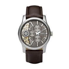 Fossil Mechanical Twist Leather Watch – Brown