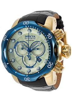 Men watches: Invicta Men's 16682 Venom Analog Display Swiss Quartz Black Watch