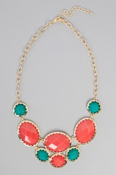 Coral & aqua :-) ...a neclace like this would be so pretty with gray dresses and coral & ivory bouquets!