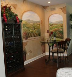 Tuscan Mural that I painted in wine 'niche' in lovely home in Naperville.