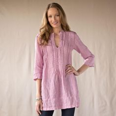 """FIRST LOVE TOP--Crinkled pintucks and earthy linen exude an elemental nature and certain innocence in this relaxed shirt from CP Shades. Roll-tab sleeves allow for adjustable sleeve length. Machine wash. USA. Sizes XS (2), S (4 to 6), M (8 to 10), L (12 to 14), XL (16). 34""""L."""