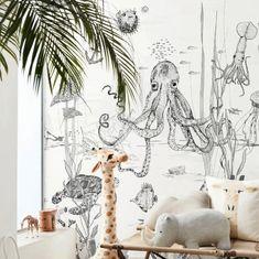 Oceaan Behang - Wandgrote afbeelding - UNDERWATER WONDERS zwart/wit   Babykamer behang   Annet Weelink Design Ocean Wallpaper, Wallpaper Size, Jungle Nursery, Kid Spaces, Sea Creatures, Special Gifts, How To Draw Hands, Black And White, Unique