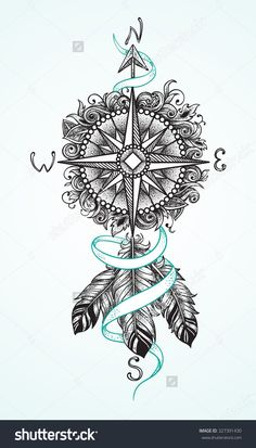 stock-vector-compass-with-floral-ornaments-with-ribbon-and-feathers-as-a-sketch-for-tattoo-327391430.jpg 914×1,600 pixels