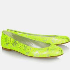 Neon lime green lace flats