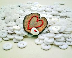 Brooch of Wood Heart Button and Embroidery Pierced by P8ButtonArt