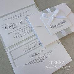 Glitter pocket Wedding Invitation Created by Eternal Stationery www.eternalstationery.com.au