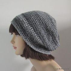 Slouchy Beanie Womens Crochet Hat Crochet by ColorMyWorldCrochet Slouchy Beanie Hats, Crochet Slouchy Hat, Knitted Hats, Hand Crochet, Knit Crochet, Crochet Hats, Crochet Things, Crochet Hat For Women, Fabric Yarn