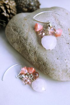 Pink Rose Quartz & Coral Gemstone/Wire Wrapped/Heart-Floral