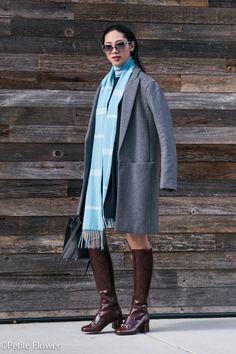Theory gray coat, Gucci Python boots