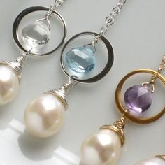 Bridesmaid Gift Set - 3 Venlo Necklaces -YOUR CHOICE of Gemstone Briolette with Freshwater Pearl in either Sterling Silver or 14k Gold fill. $113.00, via Etsy.