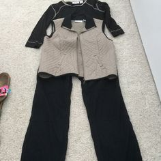 """3-piece casual outfit, M, L 100% cotton outfit. Top is black cotton knit, Lg. Trimmed in tan. Vest cotton quilted in same colors, Lg.  Pants PMed black with tan stitching and belt lining. 15"""" across with stretch in back, 37"""" long from waist. Worn 2-3 X Natalie & Me Weekend Dresses"""