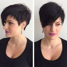 Short Black Hairstyle with Long Side Bangs