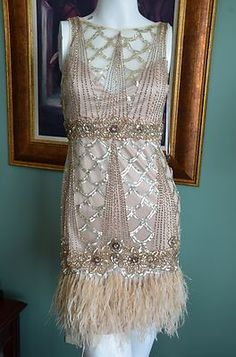 NEW Sue Wong Champagne Feather Deco Flapper Gatsby Cocktail Dress UK 8 / US 4 in Clothing, Shoes & Accessories, Women's Clothing, Dresses 20s Dresses, Dance Dresses, Dresses With Sleeves, Bridesmaid Dresses, Wedding Dresses, Gatsby Dress, 1920s Dress, Vintage Beauty, Vintage Fashion