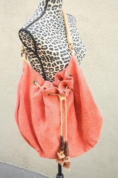 Hobo Bag India Natural Fiber Chunky Wood Bead Drawstring Boho Reddish Orange #Handmade #Hobo