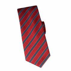 Cravate en soie rouge à rayures marine #cravate http://www.cafecoton.fr/cravate-soie-homme/10900-cravate-en-soie-rouge-a-rayures-marine.html