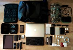 Laptop Travel Accessories layout for MacBook Pro