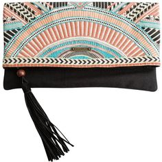 Rip Curl Sun Warrior Embroidered Clutch (2,020 DOP) ❤ liked on Polyvore featuring bags, handbags, clutches, orange, clutch wallet, orange purse, boho handbag, tassel purse and zipper purse