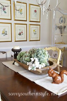 dried hydrangeas and cotton bolls--we could use magnolia instead and I have big rustic wooden bowls....