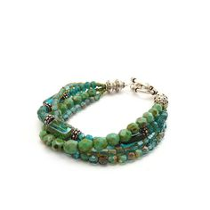 Bohemian Bracelet  Turquoise Teal Blue by RockStoneTreasures, $56.00