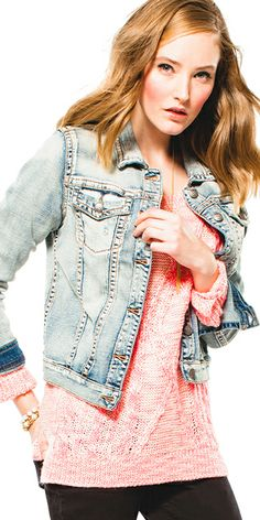 Looks We ♥ at Bootlegger.com - Great denim and a soft bright sweater to transition into spring!