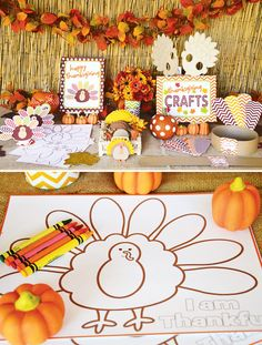 Thanksgiving-kids-craft-table - already download the file from another pin but I like the ideas here.